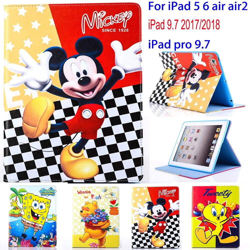 Capa para tablet para apple ipad 5 6 ar 2 ipad 9.7 2017 2018 dos desenhos animados mickey stitch capa protetora suporte concha para capa