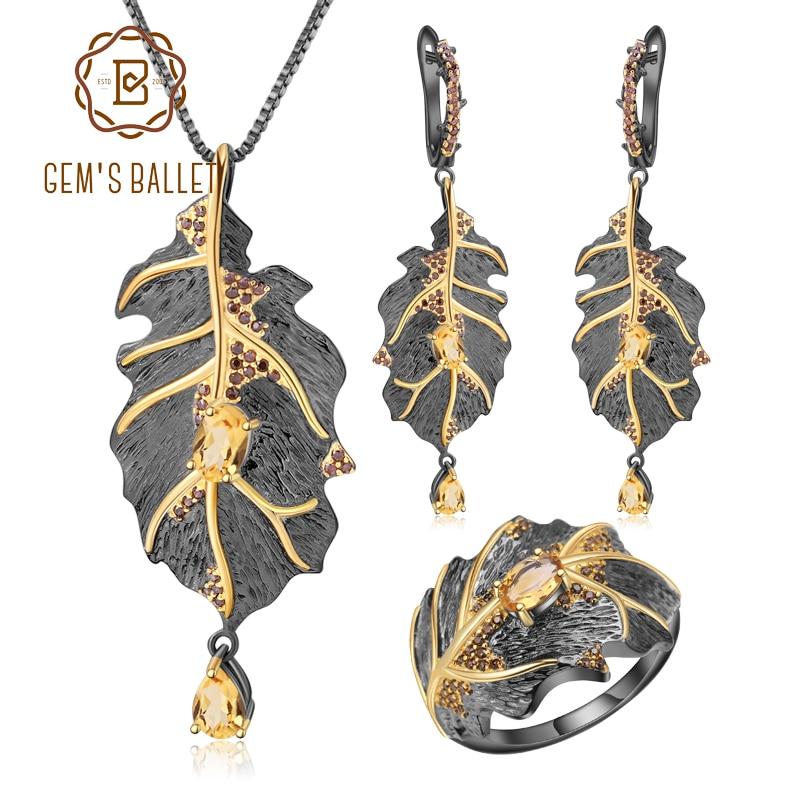 GEM'S BALLET géorgie O'keeffe naturel Citrine 925 en argent Sterling à la main feuilles anneau boucles d'oreilles pendentif ensemble de bijoux pour les femmes