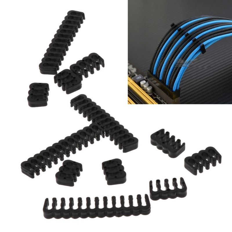 12Pcs PP <font><b>Cable</b></font> <font><b>Comb</b></font> /Clamp /Clip /Dresser For 3.4-3.9mm <font><b>Cables</b></font> Black 6/<font><b>8</b></font>/24 <font><b>Pin</b></font> image