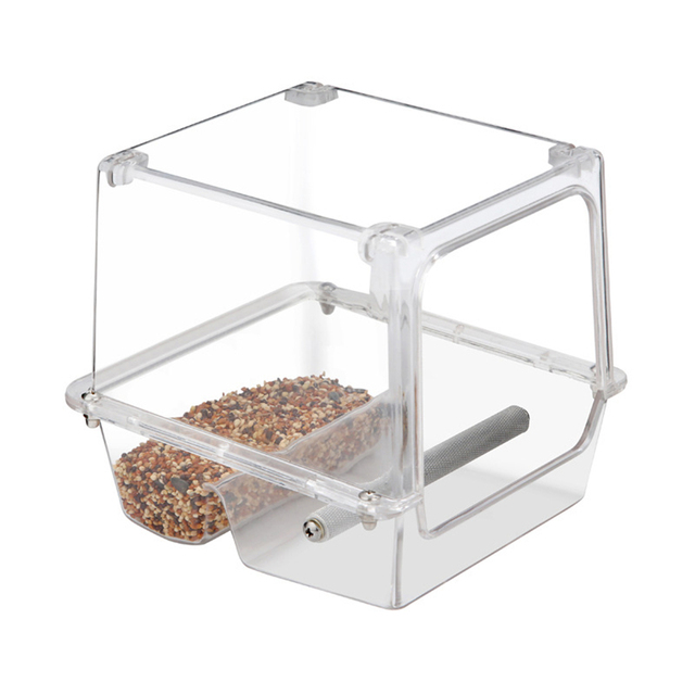 220ml Automatic Bird Food Feeder Hanging Cage Water Drinker Transparent Acrylic Parrot House Feeding Tools for Mannikin Sparrow