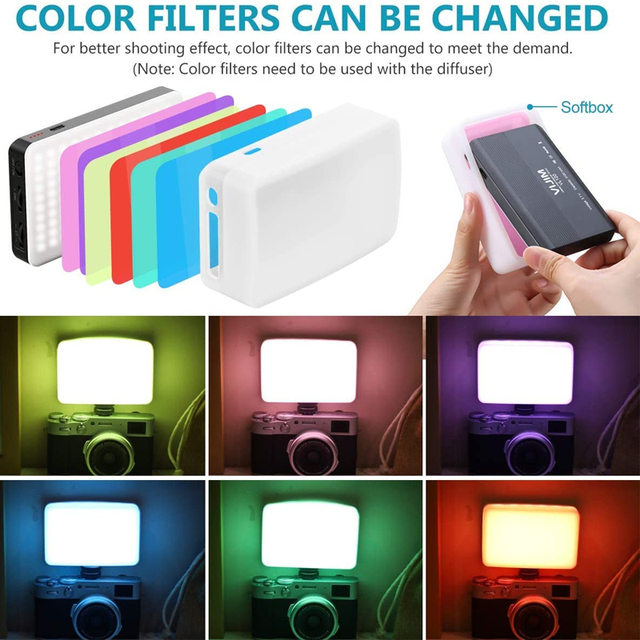 Ulanzi VIJIM VL120 LED Video Camera Light 3200k-6500K Dimmable Studio Lamp Vlog Fill Light W RGB Color Filter Softbox Diffuser 2