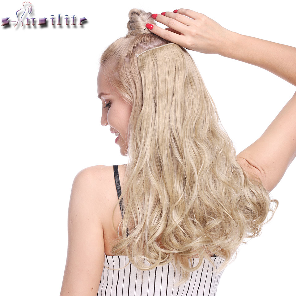 S-noilite 18-28inch Wavy Long 5 Clips In One Piece Hair Extensions  Synthetic Clip Extension Hair Hairpiece For Women