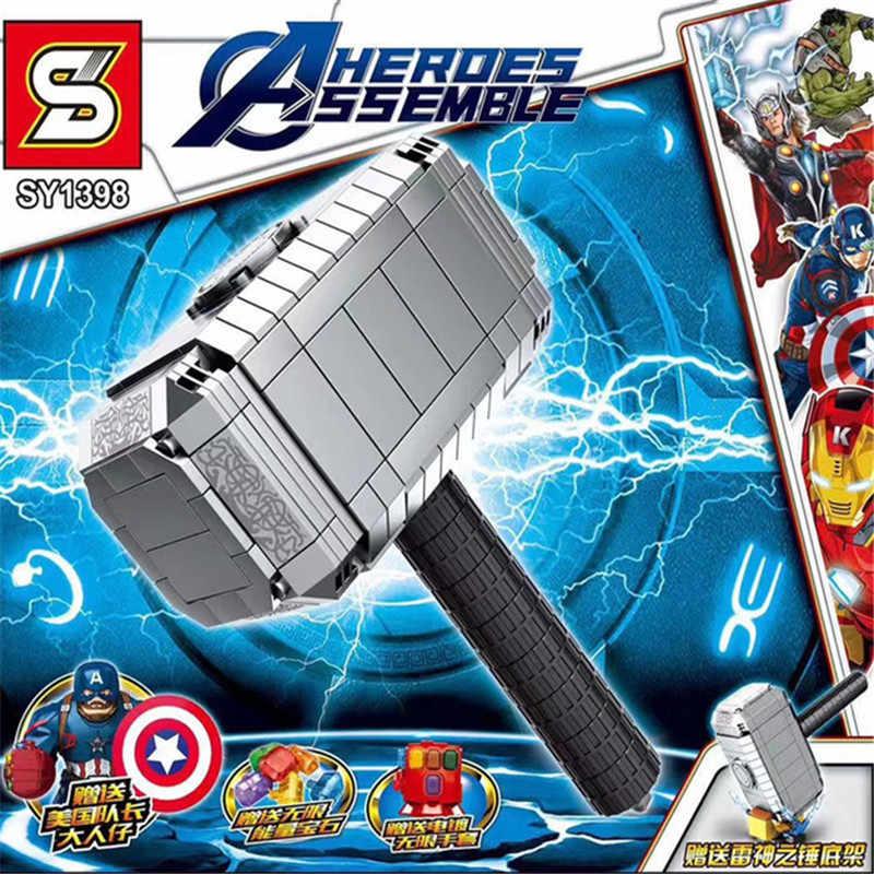 Marvel Super Heroes Avengers 4 Endgame Arma Thanos Infinity Gauntlet Mjolnir Stormbreaker Legoed Blocchi di Giocattoli Per Bambini Regali