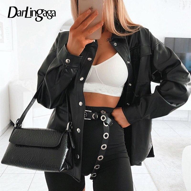 Darlingaga Streetwear Black PU Leather Blouse Women Cardigan Buttons Fashion Women's Shirt Top Long Sleeve Solid Leather Blouses