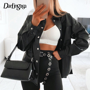 Darlingaga Streetwear Black PU Leather Blouse Women Cardigan Buttons Fashion Women's Shirt Top Long Sleeve Solid Leather Blouses