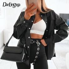 Darlingaga streetwear preto plutônio blusa de couro feminino cardigan botões moda camisa feminina topo manga longa blusas de couro sólido