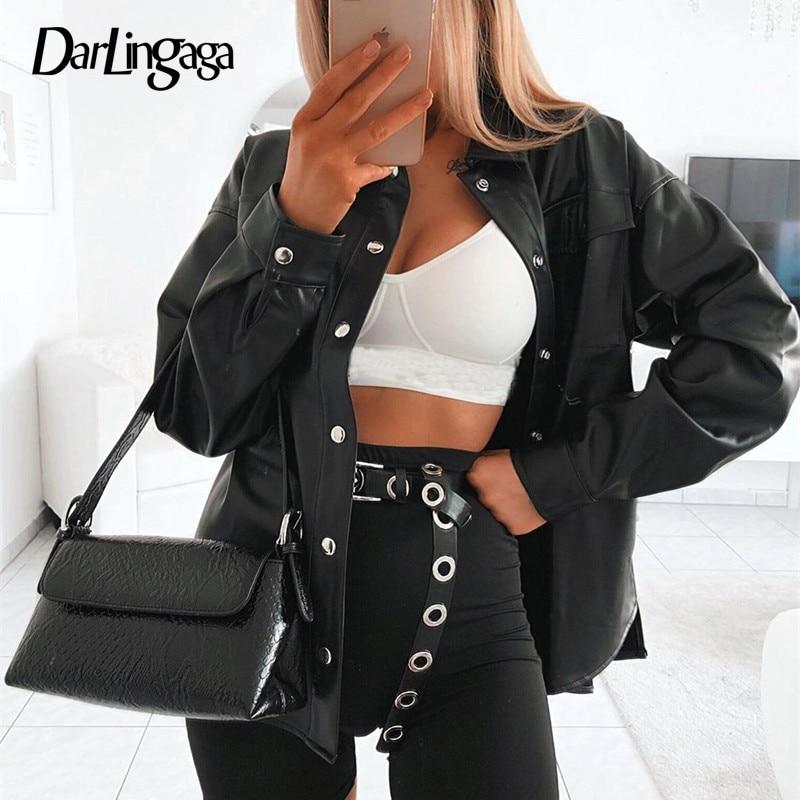 Женская уличная блузка Darlingaga, черная блузка из искусственной кожи, пуговицы для кардигана, модная женская рубашка с длинным рукавом, однотонные кожаные Блузы|Блузки и рубашки| | - AliExpress