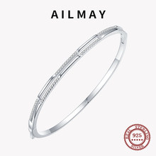 Ailmay Top Quality Real 925 Sterling Silver Line Clear CZ Bracelets Clear Zircon for Women Minimalist Fine Jewelry 2021 New