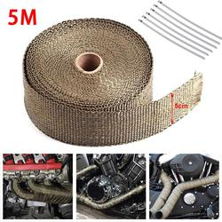 5 M Meters Motorcycle Exhaust Thermal Tape Header Heat Wrap Manifold Insulation Roll Resistant with Stainless Ties