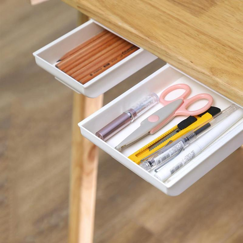 Suitable for Office Home School BSTCAR Under Table Drawer Paste Style Under Desk Storage Makeup Box Under Desk Drawers Table Storage Drawer Organiser Box