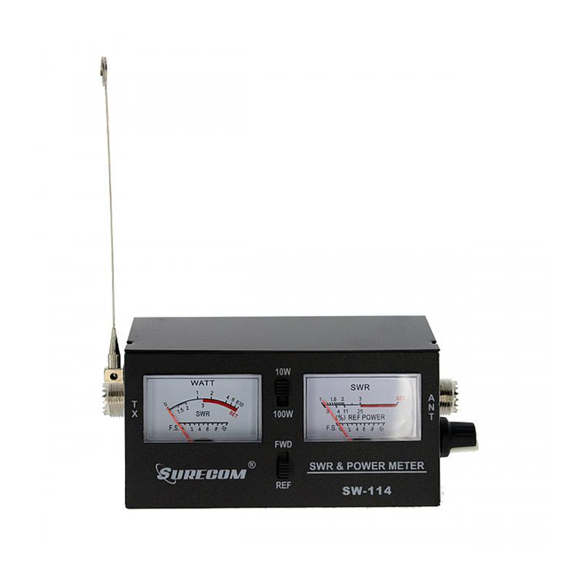 Surecom SW-114 SWR/RF/Field Strength Test Power Meter for Relative Power 3 Function Analog with Field Strength Antenna 1