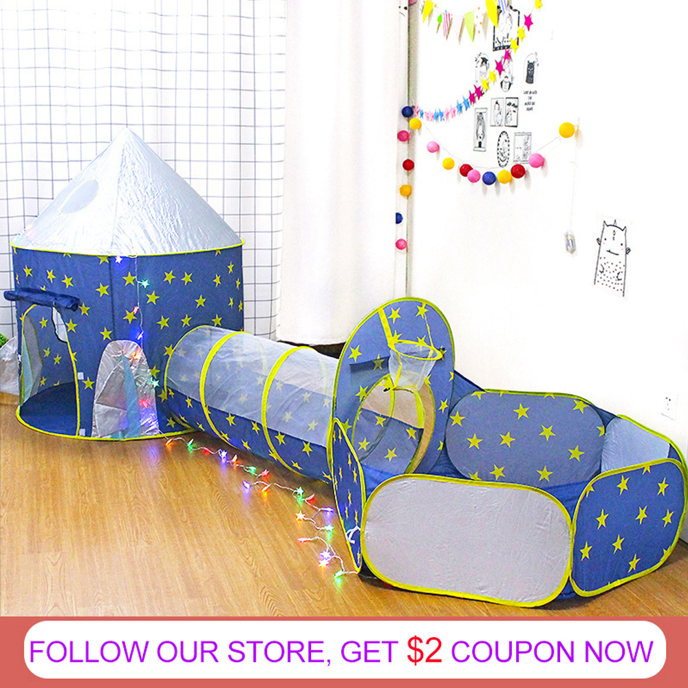 Portable 3 In 1 Spaceship Children's Tent Baby Wigwam Rocket Ship Tent For Kids Tipi Dry Pool Ball Box Children's Room Beach Toy