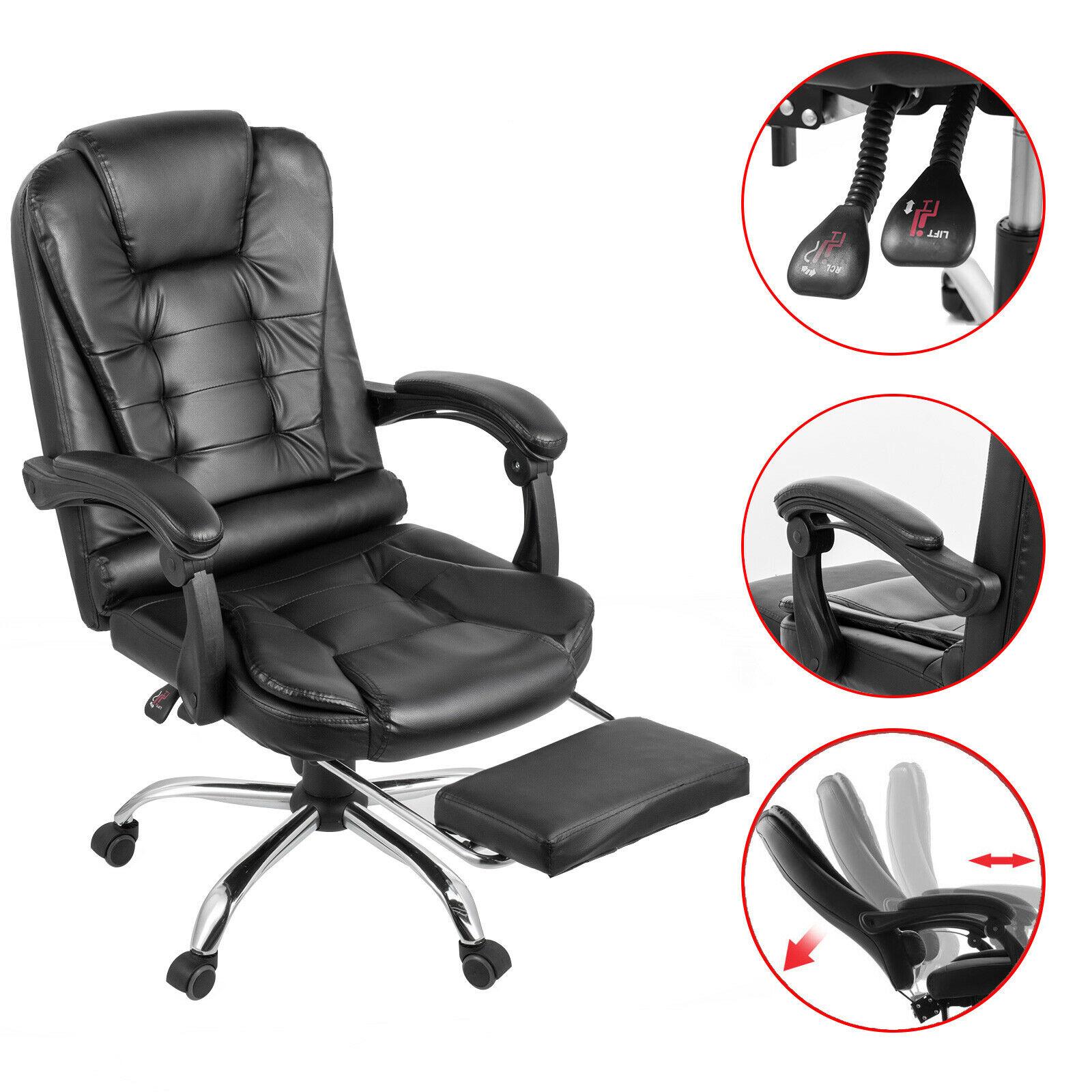 Cadeira preta ergonômica do giro de 360 graus alta volta cadeira de couro do falso cadeira com apoio para os pés do jogo computador cadeira de escritório