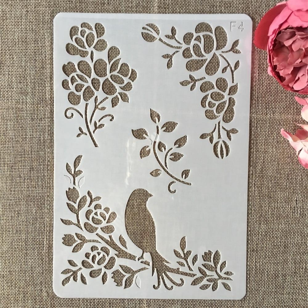 26cm Bird On Tree DIY Layering Stencils Wall Painting Scrapbook Coloring Embossing Album Decorative Card Template
