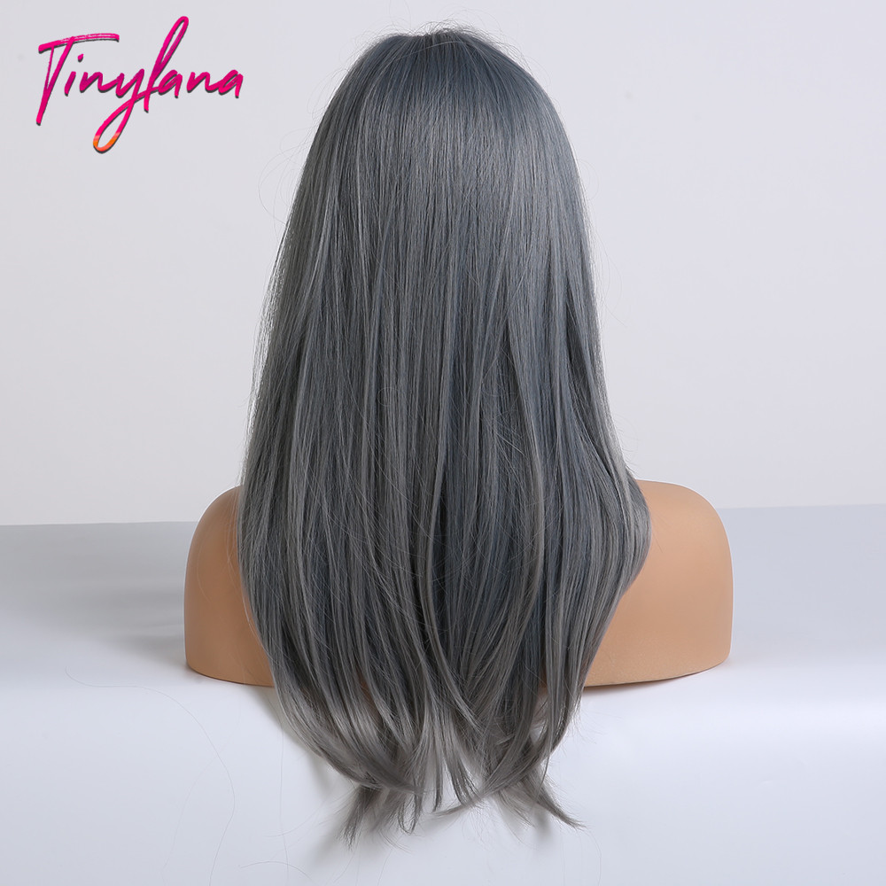 Image 5 - TINY LANA Ash Blue Long straight Hair with Bangs Synthetic Wig for Women Lolita&Cosplay High Temperature Fiber Layered Wigs afroSynthetic None-Lace  Wigs   -