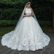 2020 Luxury Lace Muslim Bride Wedding Dresses A Line Sleeveless Buttons Tulle Bridal Wedding Gowns Plus Size Robe De Mariee
