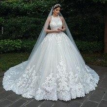 2020 rendas de luxo muçulmano noiva vestidos de casamento uma linha sem mangas botões tule vestidos de casamento nupcial plus size robe de mariee
