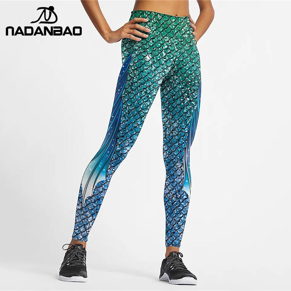 NADANBAO Magic Mermaid Woman's Leggings Fish Scale 3D Printed Leggins Fashion Colorful Pants Elastic Slim Legins Workout Pants