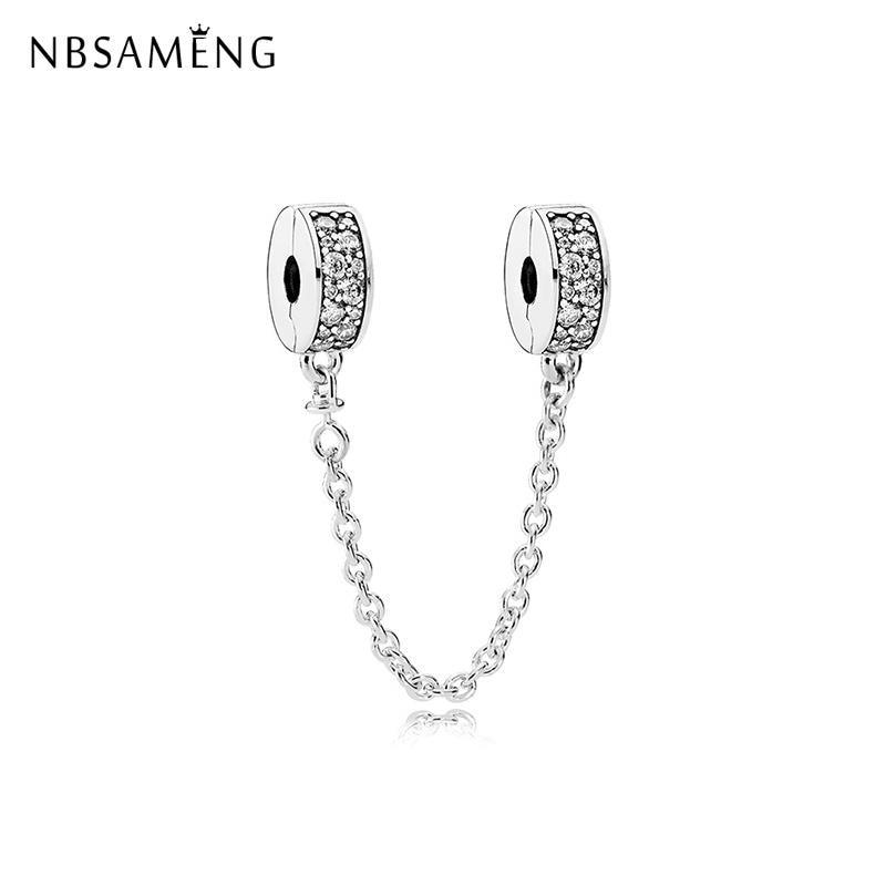 Novo original 925 prata grânulo charme brilhando elegância corrente de segurança caber pandora pulseira colar diy jóias femininas