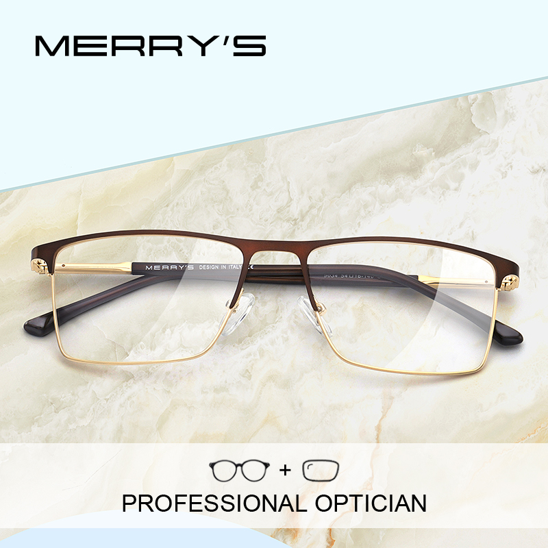 MERRYS DESIGN Men Prescription Glasses Square Myopia Eyeglasses Male Business Style Frames Optical Glasses S2034PG image