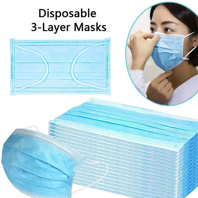 Disposable Mouth Masks Face Mask 3-Ply Filtration Anti Flu Dust PM2.5 Non-woven Mask Face Mouth Masks Breathable Earloops Mask 1