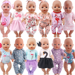 Цветы ручной работы Фламинго узор кукольная одежда аксессуары для 18 дюймов американская кукла девочиковая игрушка 43 см для ухода за ребенк...