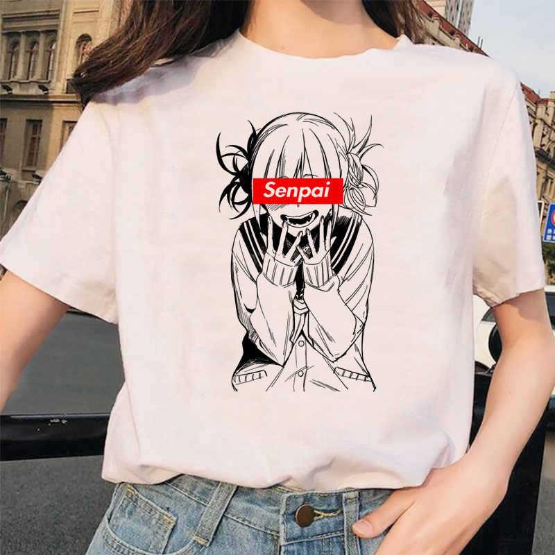 Anime Jepang Ahegao T Shirt Wanita Harajuku Boku No Hero Academia T-shirt Senpai Lucu Tshirt Himiko Toga Top Tees Wanita