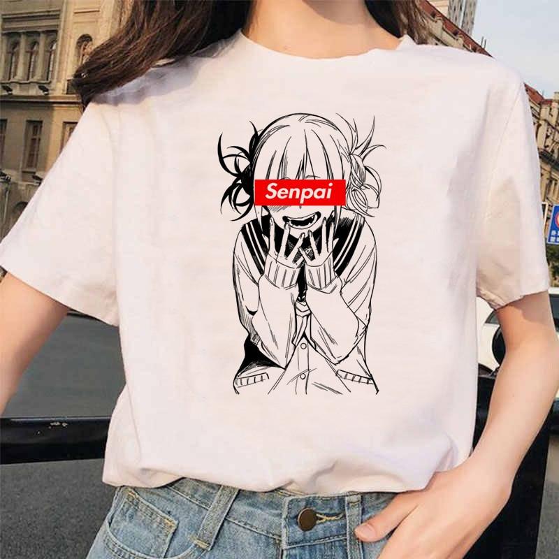 Japanese Anime Ahegao T Shirt Women Harajuku Boku No Hero Academia T-shirt Senpai Funny Tshirt Himiko Toga Top Tees Female