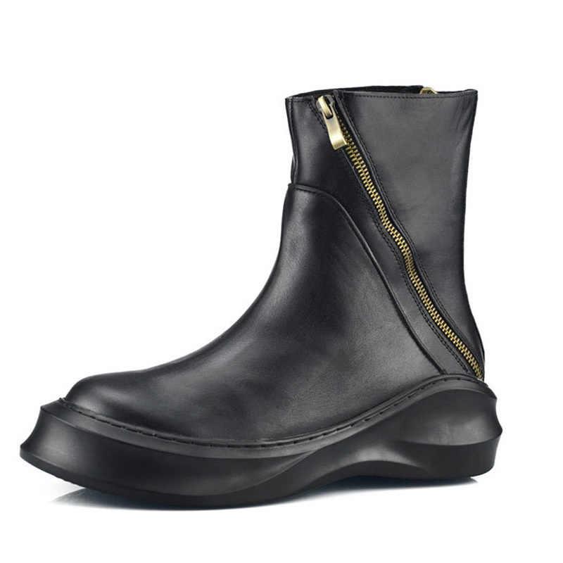 Retro Europäischen Neue Mode Winter Zipper Herren Stiefel Runde Kappe Aus Echtem Leder Mitte Ferse Männlichen Schuhe Schuhe Starke Ferse Plus größe