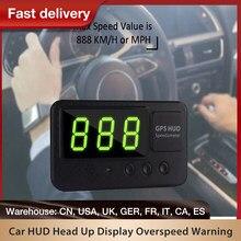 Автомобильный Hud Дисплей GPS Скорость ometer Hud Дисплей км/ч машина HUD Дисплей Скорость метр над Скорость Предупреждение