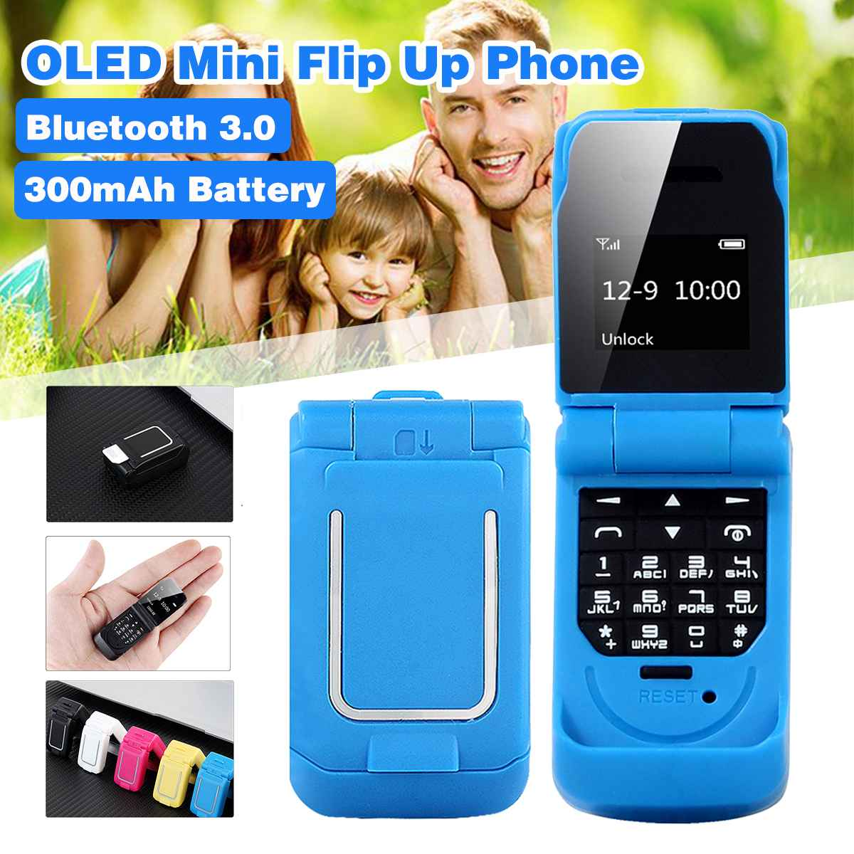 0.66 Inch OLED Screen Bluetooth 3.0 Mini Flip Up Mobile Phone Mini Phone SIM Card Smallest Cell Phone For Kids Toy Walkie Talkie