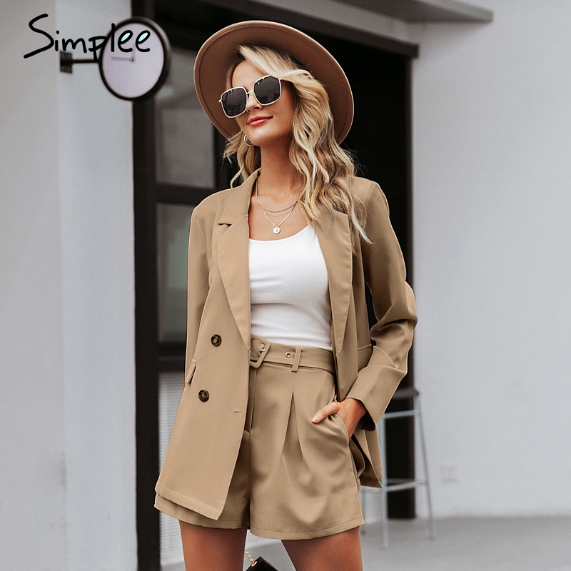 Image 4 - Simplee Elegant two piece office ladies blazer suits Buttons pockets sash belted women shorts suit Casual streetwear blazer setsWomens Sets   -