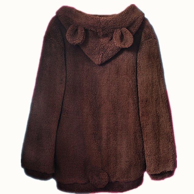 New Faux Fur Coat Rabbit Outerwear With Bear Ears Cute Plus Size Loose Winter Sweatshirt Hooded Brown Hoodies