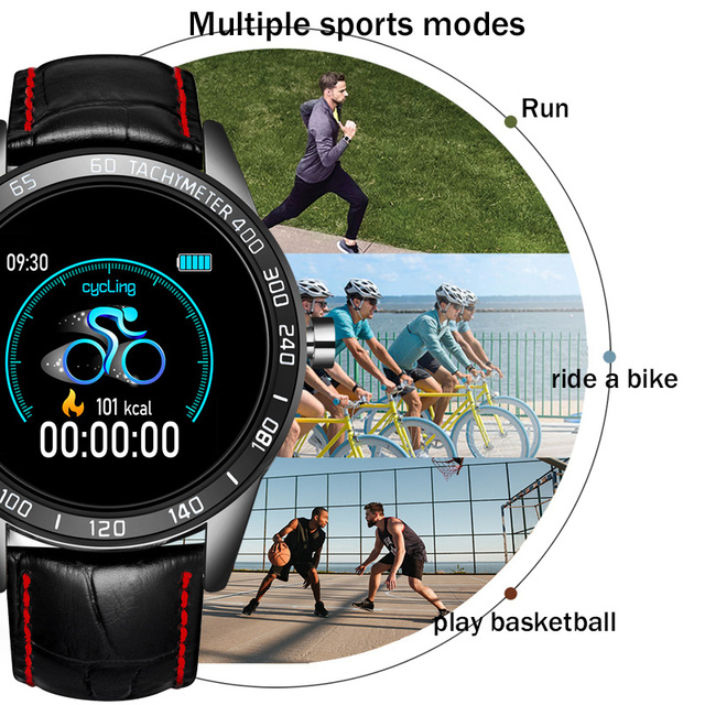 LIGE 2020 New leather waterproof smart watch Men Sport Fitness Heart rate blood pressure tracking smartwatch For iPhone Android 5