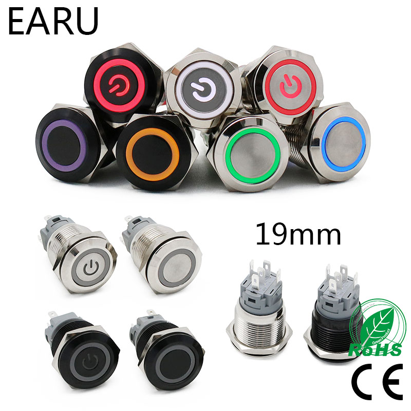 19mm New Waterproof Metal Push Button Switch LED Light Anodize Oxide Black Momentary Latching Car Engine PC Power Switch 3-380V