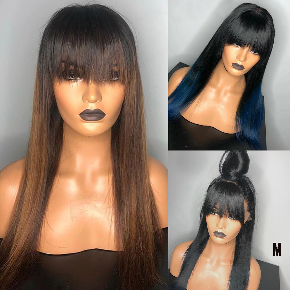 Eversilky Ombre Blue Brown 13x6 Lace Front Human Hair Wigs With Bang Blonde Straight Middle Ratio Remy 150% Density Fringe Wigs