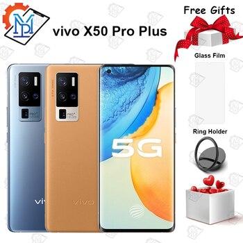 Перейти на Алиэкспресс и купить Оригинальный официальный VIVO X50 Pro Plus 5G мобильный телефон 6,56 дюйм120 Гц AOMLED 8G + 128G Snapdragon 865 Android 10 50MP камера смартфон