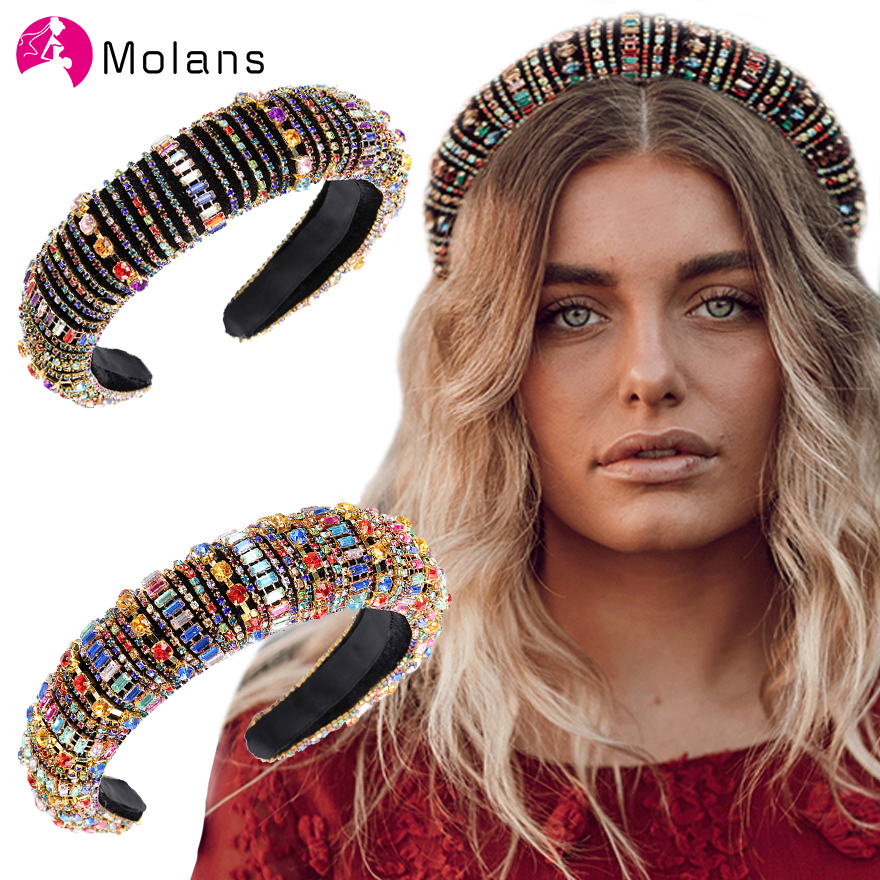 MOLANS Rainbow Bejeweled Padded Headbands Fashion Luxurious Rhinestones Sponge Hairbands For Women Sparkly Novelty Headbands