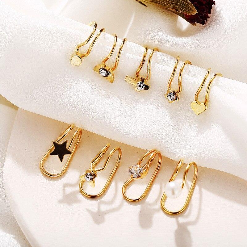 Cross-Clip Earrings Ear-Cuffs No-Piercing Stainless-Steel Fake Cartilage Gold Women