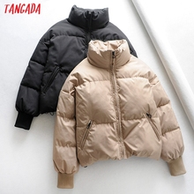 Tangada Women Solid Khaki Oversize Parkas Thick 2019 Winter Zipper Pockets Female Warm Elegant Coat Jacket 6A120 cheap Casual Full Polyester Polyester Fiber Thick (Winter) Other REGULAR 0 88KG Zippers