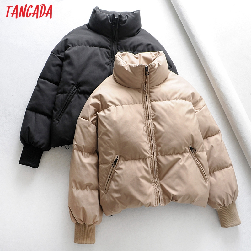 Tangada Women Solid Khaki Oversize Parkas Thick 2019 Winter Zipper Pockets Female Warm Elegant Coat Jacket 6A120 on AliExpress