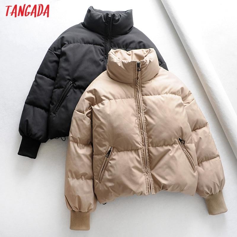 Tangada Women Solid Khaki Oversize Parkas Thick 2019 Winter Zipper Pockets Female Warm Elegant Coat Jacket 6A120