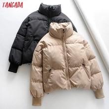Tangada Women Solid Khaki Oversize Parkas Thick 2019 Winter Zipper Pockets Femal