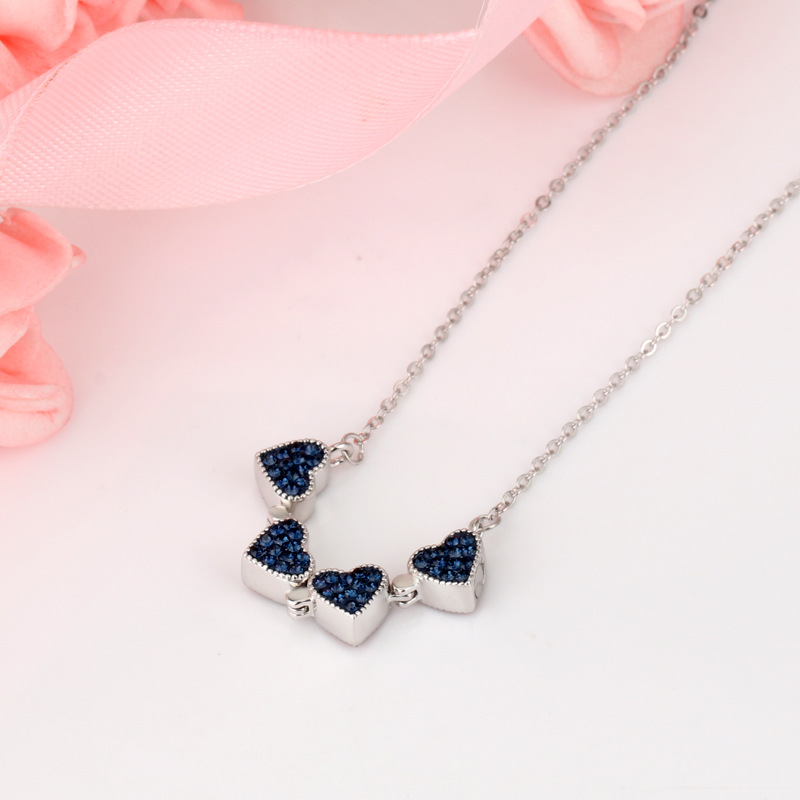 3um Custom Collar Red and Blue Double-Sided Four-leaf Clover Necklace Love Heart Choker Christmas Gift Flower Women Necklaces