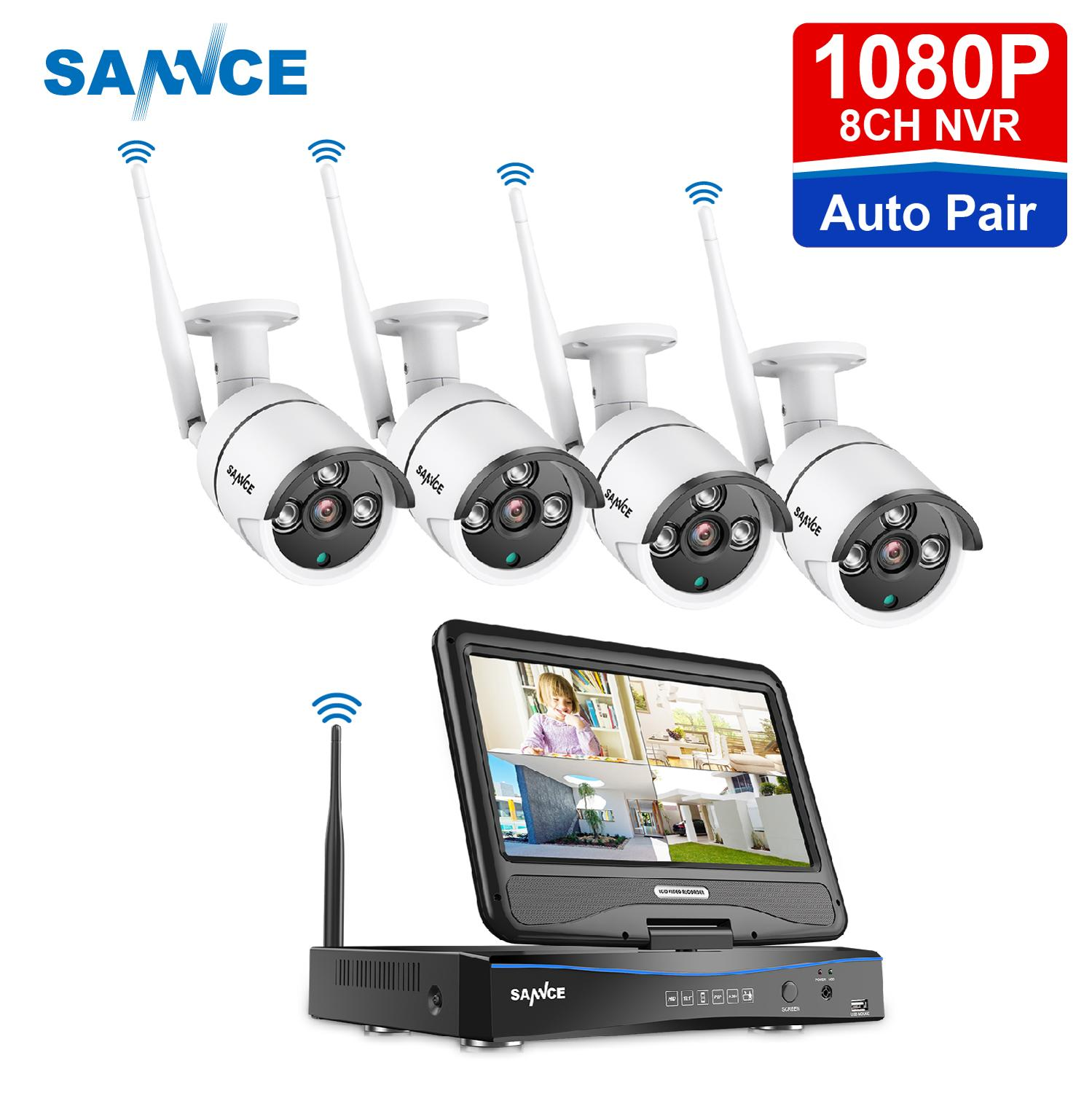 SANNCE 8CH 1080P WIFI Video Security System With 10.1inch LCD Screen 2MP H.264+ NVR With 4PCS 2MP Outdoor Weatherproof IP Camera