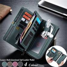 Multi-functional Purse Leather Case for iPhone 11 Pro Max Zip Walllet