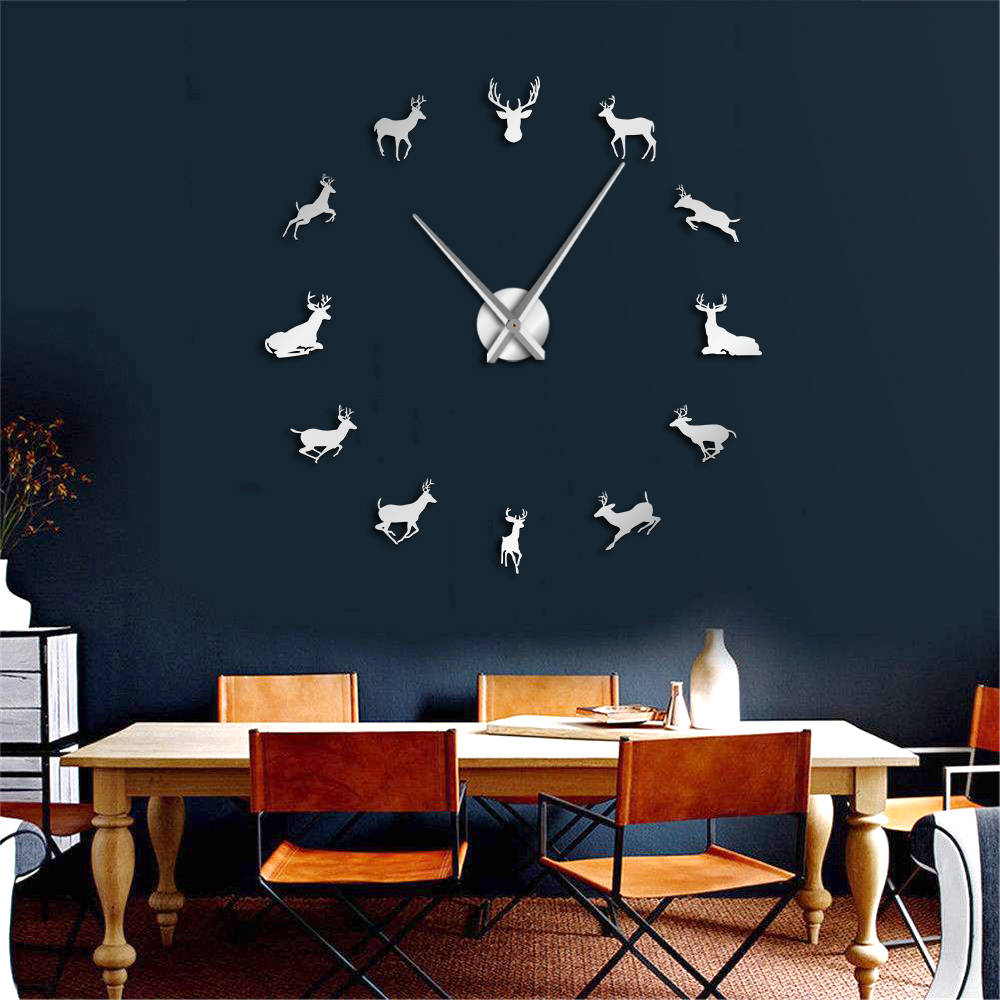 DIY Deer Head Giant Wall Clock Woodland Deer Hunter Modern Deer Antler Wall Clock Acrylic Mirror Effect Animals Home Decorations