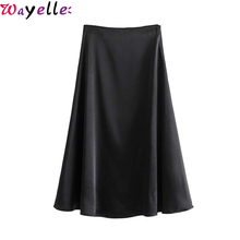 Chic Pleated Skirt Women Black Elegant Party Midi Side Zipper A Line Female Basic Office Lady Mid Calf