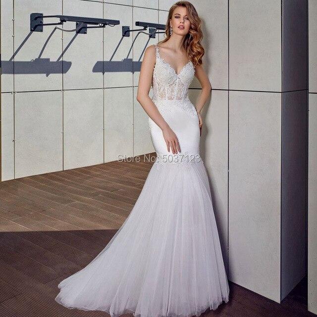 Mermaid Wedding Dresses V Neck Spaghetti Straps Vestido De Noiva Lace Appliques Bridal Gown Sweep Train Button Illusion