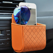 Car Outlet Vent Seat Back Tidy Storage Box PU Leather Coin Bag Case Pocket Organizer Hanging Holder Pouch Automobile Accessories